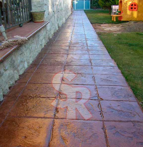 Hormig n impreso suelo rustic for Moldes baldosas hormigon